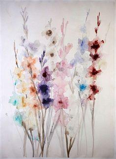 Lourdes Sanchez, gladiolas multicolored 2014, watercolor