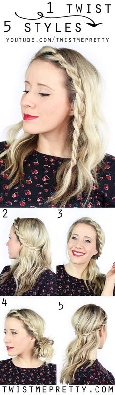1 simple twist worn 5 different ways! I love these simplified hairstyles! | Twist Me Pretty