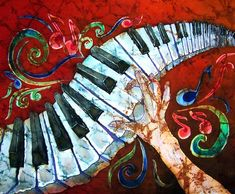 """""""Music Crazy Fingers Piano Keyboard"""" by Sue Duda: Crazy Fingers is a Batik on Silk with the ambience of listening to piano music forever and ever. Red background strikingly contrasts with the white and black keys. Swirls of sound and notes add to ..."""