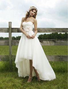 Organza Sweetheart Strapless Neckline A-Line Wedding Dress with High-Low Skirt - Bridal Gowns - RainingBlossoms