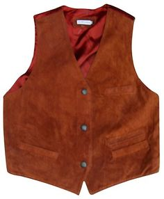 """SOUTH LODGE REAL LEATHER TAN SUEDE WAISTCOAT 40"""" VINTAGE JACKET"""