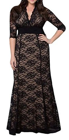 Women's Solid V-Neck Long Sleeve Plus Size Evening Party Maxi Dress DEARCASE http://www.amazon.com/dp/B016OBDW7G/ref=cm_sw_r_pi_dp_txJswb1200K81