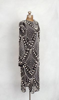 1920's black and white silk chiffon pearl-beaded gown.