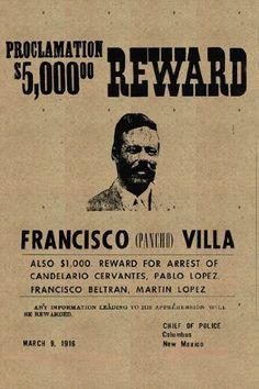 PANCHO VILLA POSTER Reward RARE HOT NEW 24x36