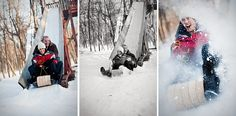 Awesome engagement photos playing in the snow.