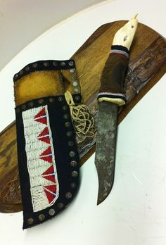 Sioux Indian Fur Trade Style Knife Indian Made Planes Sheath Red White Blue Nice | eBay