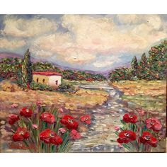 Tuscany Italy Red Poppies Original Oil Painting 20x24 - Tuscany Italy Red Poppies Original Oil Painting 20x24