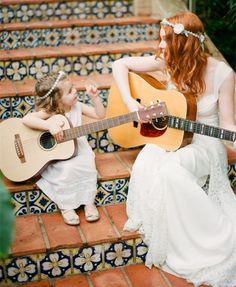 boho brides wedding dresses and cute flower girl #elegantweddinginvites