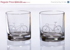 Black Friday Sale Bicycle Love Etched Whiskey by EastMesaDesign, $24.00