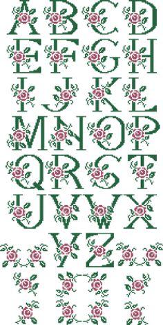 Alfabeto con rosa Monogram Cross Stitch, Cross Stitch Rose, Cross Stitch Alphabet, Cross Stitch Flowers, Cross Stitch Kits, Cross Stitch Designs, Cross Stitch Charts, Stitch Patterns, Gobelin