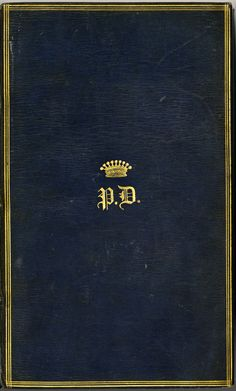 Chiffre couronné estampé aux deux plats de cet ouvrage ayant appartenu à la #collection de Paul Demidov (1798-1840) avec une belle #reliure #Bleue #numelyo #Blu #Color #bibliophile #biliothèque