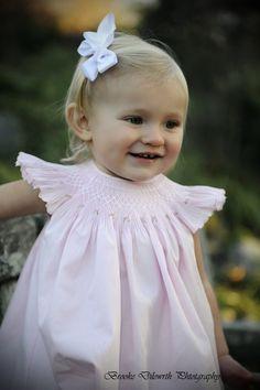 Pink Smocked Angel Sleeve Bubble by BradleyJane on Etsy