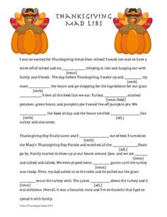 thanksgiving mad libs for adults Thanksgiving Family Games, Thanksgiving Crafts For Kids, Thanksgiving Traditions, Thanksgiving Parties, Thanksgiving Word Search, Thanksgiving Worksheets, Thanksgiving Prayer, Thanksgiving Appetizers, Thanksgiving Outfit