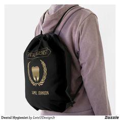 Dental Hygienist Drawstring Bag Black Rope, Back To Black, Solid Black, Jamie Johnson, Dental Technician, Black Trim, Keep It Cleaner, Drawstring Backpack