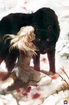 I konw its not Anime wolf it's an anime with the wolf Fantasy Creatures, Mythical Creatures, Image Manga, Dark Art, Amazing Art, Illustration, Fantasy Art, Concept Art, Cool Art