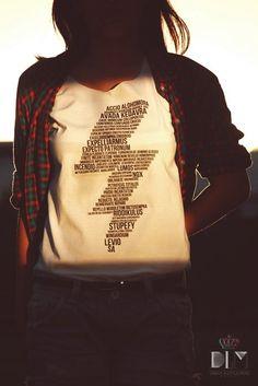 <3 <3 <3 Harry Potter lightning bolt t-shirt with spells inside it!!! :D