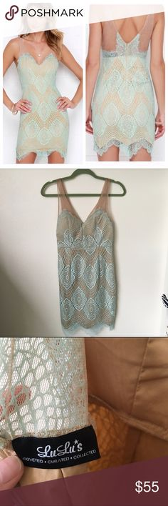 NWOT Lulus Mint Lace Dress Reposting a NWOT Lulus 'Luxe for Life' lace dress in mint. Brand new, never worn. Size small. I would keep but it doesn't fit.  Sold out online and no longer available Lulu's Dresses Mini
