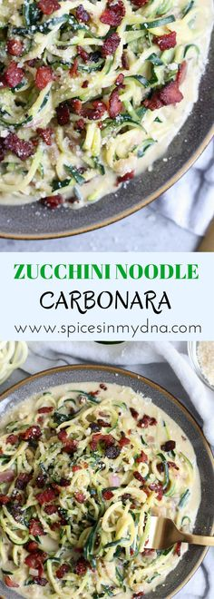 Zucchini Noodle Pasta Carbonara This is a lighter take on the classic pasta carbonara, made healthier with zucchini noodles and no c. Pasta Carbonara, Zucchini Carbonara, Zoodle Recipes, Spiralizer Recipes, Veggie Noodles, Zucchini Noodles, Zucchini Spaghetti, Low Carb Recipes, Cooking Recipes