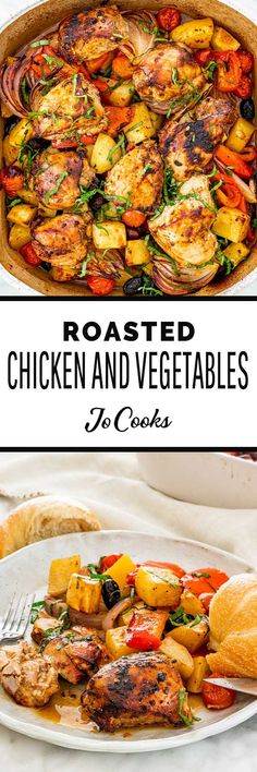 This Roasted Chicken and Vegetables is a family favorite that we make often. Quick and easy prep, a whole meal all in one dish, resulting in a deliciously seasoned chicken over a bed of vegetables. Baked Chicken And Veggies, Roasted Chicken, Chicken Recipes, Healthy Chicken, Cooking Recipes, Healthy Recipes, Dump Recipes, Salad Recipes, Winner Winner Chicken Dinner