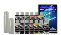 12 Createx Colors Airbrush Paint Set Basic Starter Kit - now includes (FREE) pack of 100 - 1 ounce paint mixing cups & Our FREE How-To Airbrush Book to help get you started, Published Exclusively by TCP Global. by Createx, http://www.amazon.com/dp/B001GTU0DQ/ref=cm_sw_r_pi_dp_E78dsb0EAB17P