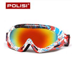 POLISI Men Women Ski Goggle Snow Skiing UV400 Spherical Anti-Fog Lens Eyewear Winter Windproof Snowboard Esqui Skate Glasses
