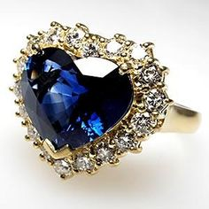 HEART BLUE SAPPHIRE & HALO DIAMOND COCKTAIL RING SOLID 18K GOLD