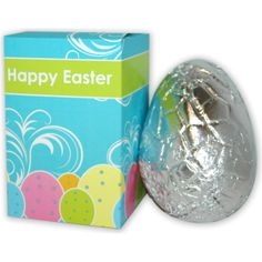 Easter Egg in Personalised Box. 100g foiled Belgian milk chocolate hollow egg in a full colour box.