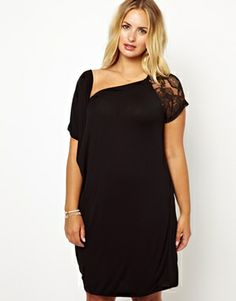 Junarose Short Sleeve Dress With Lace Shoulder