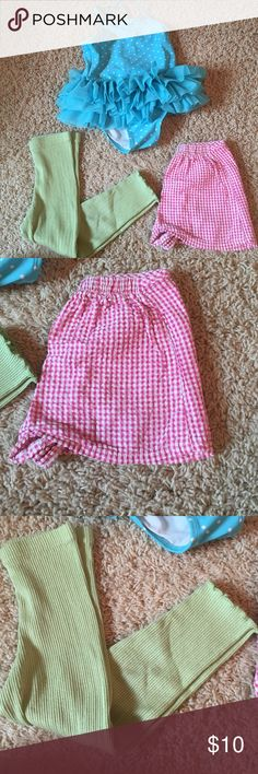 Group of kids size 2&3 clothes & swimwear Group includes pink and white plaid shirts, green leggings and plies tutu swimsuit with white polka dots. Everything is in great condition.  The swimsuit no longer has the tag, but is a size 3!! Other