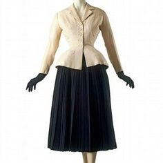 'Bar' suit, by Christian Dior, Paris, France, Spring 1947. 'Bar' is one of the most important designs from Dior's first collection