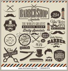 Collection of vintage retro grunge barber shop labels