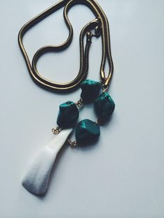 TURQUOISE WATER BUFFALO Necklace by MadMadeMetals on Etsy