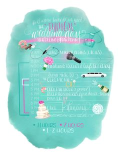 Illustrated Wedding Day Timeline by REJOYCED on Etsy