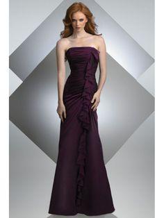A-line Strapless Floor Length Chiffon Bridesmaid / Wedding Guest Dresses 501050