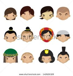 cartoon children face fun, boy, set, joy, kid, art, head, cute, girl, face, hair, teen, brown, comic, smile, young, woman, color, mouth, child, party, happy, vector, muslim, cartoon, thailand, mongolia, adorable, japanese, character, childhood, foreigner, expression, illustration