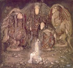 """""""Look at them, Mother Troll said. Look at my sons! You won't find more beautiful trolls on this side of the moon!"""" - 1915 watercolor by John Bauer from Bland tomtar och troll (English: Among Gnomes and Trolls)"""