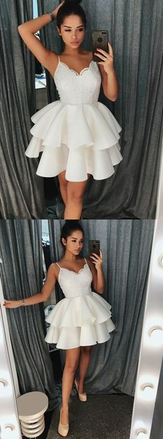 simple short prom dresses with appliques, elegant tiered semi formal gowns, homecoming dress 2018