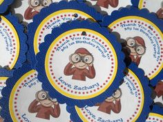 Curious George Thank You Gift Tags  Set of 12 by designerfavors, $5.00