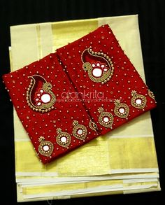 ALANKRITA Online Boutique offers exclusively customized clothing for just about every occasion at a very affordable rate. Mirror Work Saree Blouse, Mirror Work Blouse Design, Embroidery Neck Designs, Hand Work Embroidery, Kids Blouse Designs, Hand Designs, Kerala Saree Blouse Designs, Hand Work Design, Maggam Work Designs