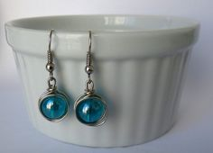 Wire Wrapped Turquoise Bead Earrings on Etsy, $15.50 CAD