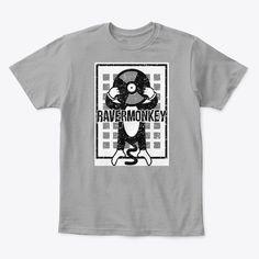 Soulful House Vinyl Dj Ravermonkey Light Heather Grey T-Shirt Front Techno House Music, Dance Music, Heather Grey, Dj, Shirt Designs, Just For You, Pillows, Mens Tops, T Shirt