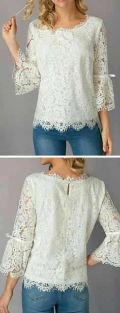 Precioso Lace Blouses, Shirt Blouses, Shirts, Zip Up Hoodies, Dressmaking, Brokat, Pretty Outfits, Beautiful Outfits, Blouse Designs
