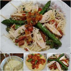 Polenta mole ao molho pomodoro com aspargos e frango - lchf, gluten free