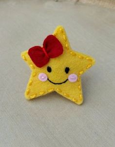 Twinkle Little Star Wool Felt Snap Hair Clip by BerryCoolDesigns