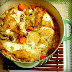 Braised Chicken in a Dutch Oven! I made this and it was amazing and so perfectly juicy.
