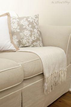 Khaki Sofa with Off White Piping