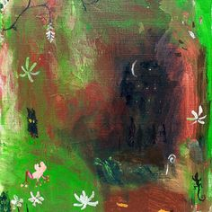 【muranagi】さんのInstagramをピンしています。 《#ムラナギ作品 No.1064 月の見える沼 2014 F4 (24.2cmx33.3cm) 森の奥、僕らの生まれた場所……湿った草の上に、月の見える沼。 #art #artist #artwork #painting #illustration #drawing #acrylic #paint #woods #nature #dream #moon #forest #bird #creature #river #絵画 #森 #生き物 #月 #鳥》