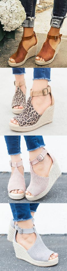 $39.99 USD Women Chic Espadrille Wedges Adjustable Buckle Sandals Mode Outfits, Fashion Outfits, Womens Fashion, Leopard Fashion, Look Chic, Mode Style, Custom Shoes, Me Too Shoes, What To Wear