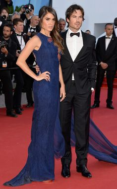 Nikki Reed and Ian Somerhalder dominate the red carpet at the Youth premiere at Cannes, with Nikki in a whimsical royal blue Azzaro design.