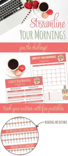 Join us for the streamline your mornings challenge! We'll be establishing our evening routines and our morning routines plus I've include 2 free routine tracker printables!